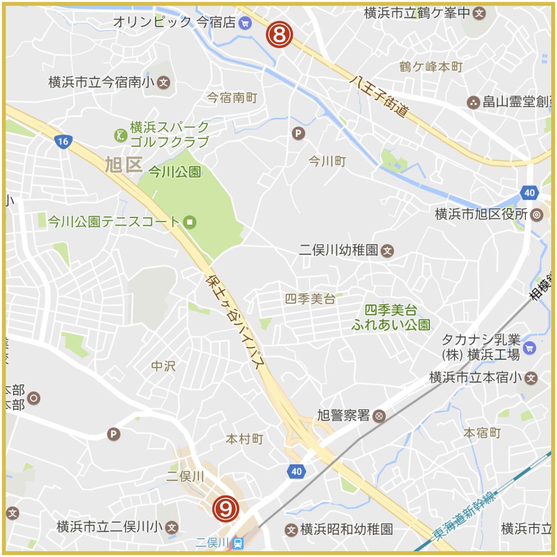 横浜市旭区にあるプロミス店舗・ATMの位置(2019年12月版)