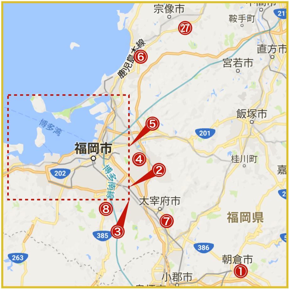 福岡県福岡地域にあるプロミス店舗・ATMの位置