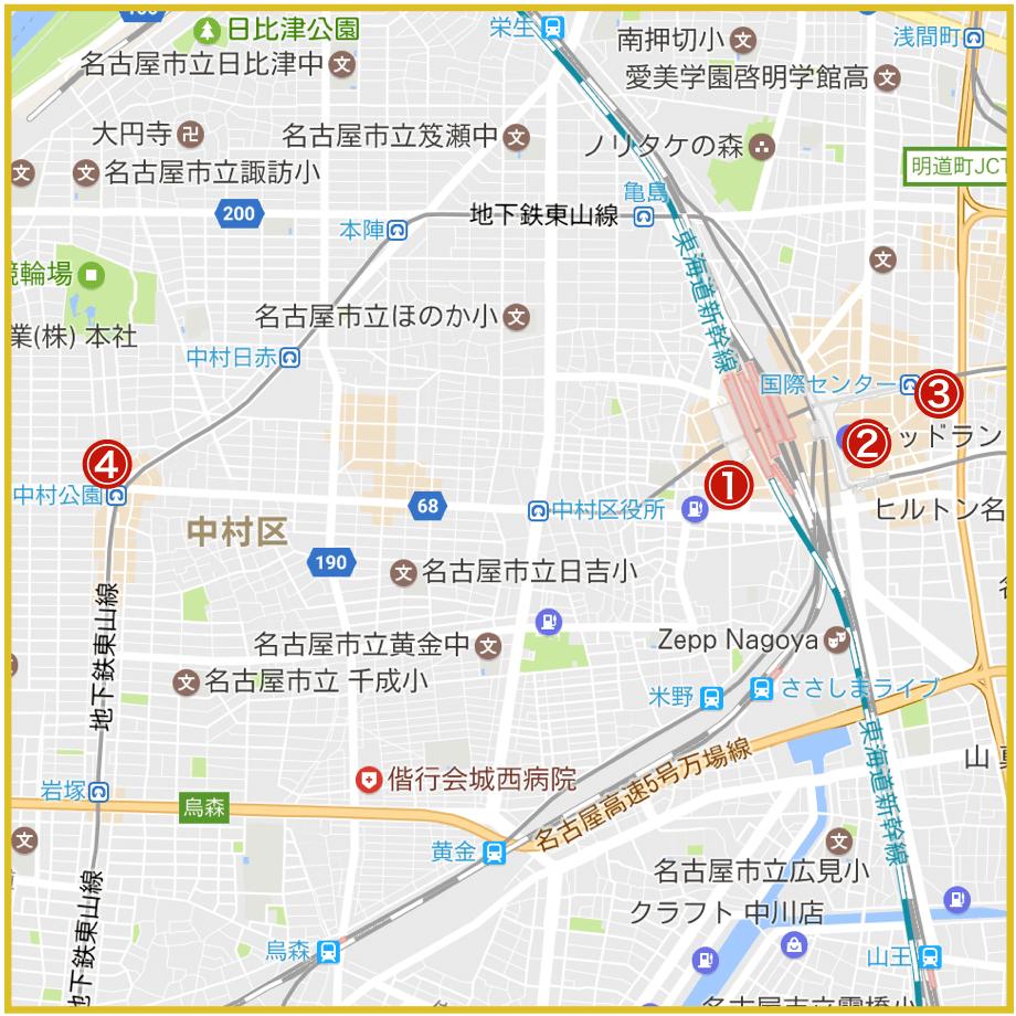 名古屋市中村区にあるプロミス店舗・ATMの位置