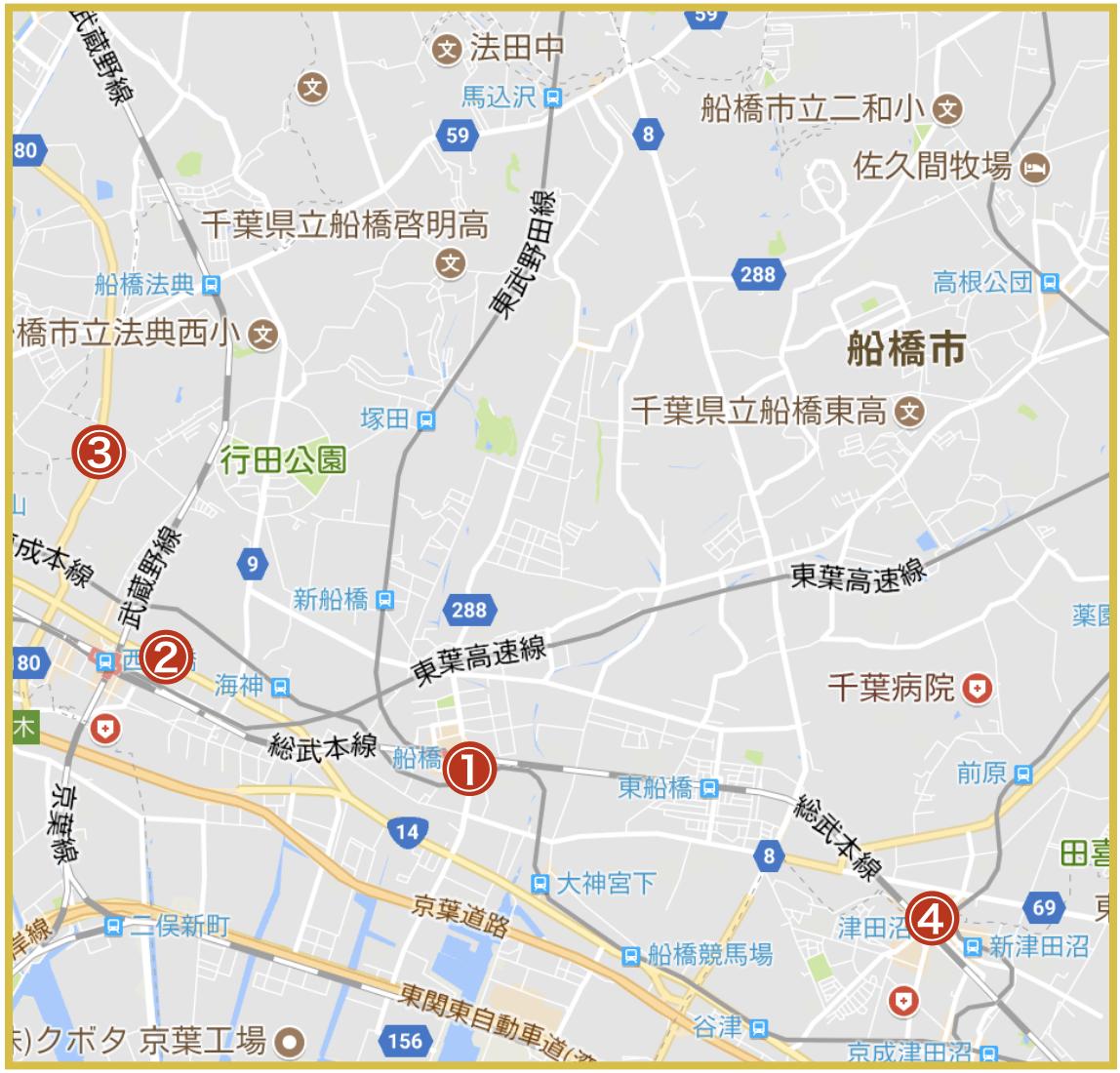 船橋市にあるアコム店舗・ATMの位置(2020年4月版)