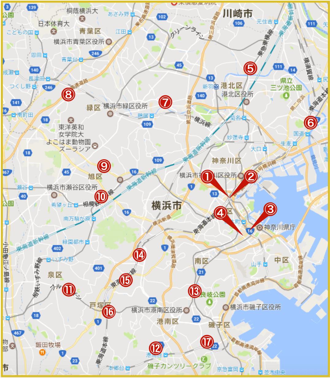 横浜市にあるプロミス店舗・ATMの位置