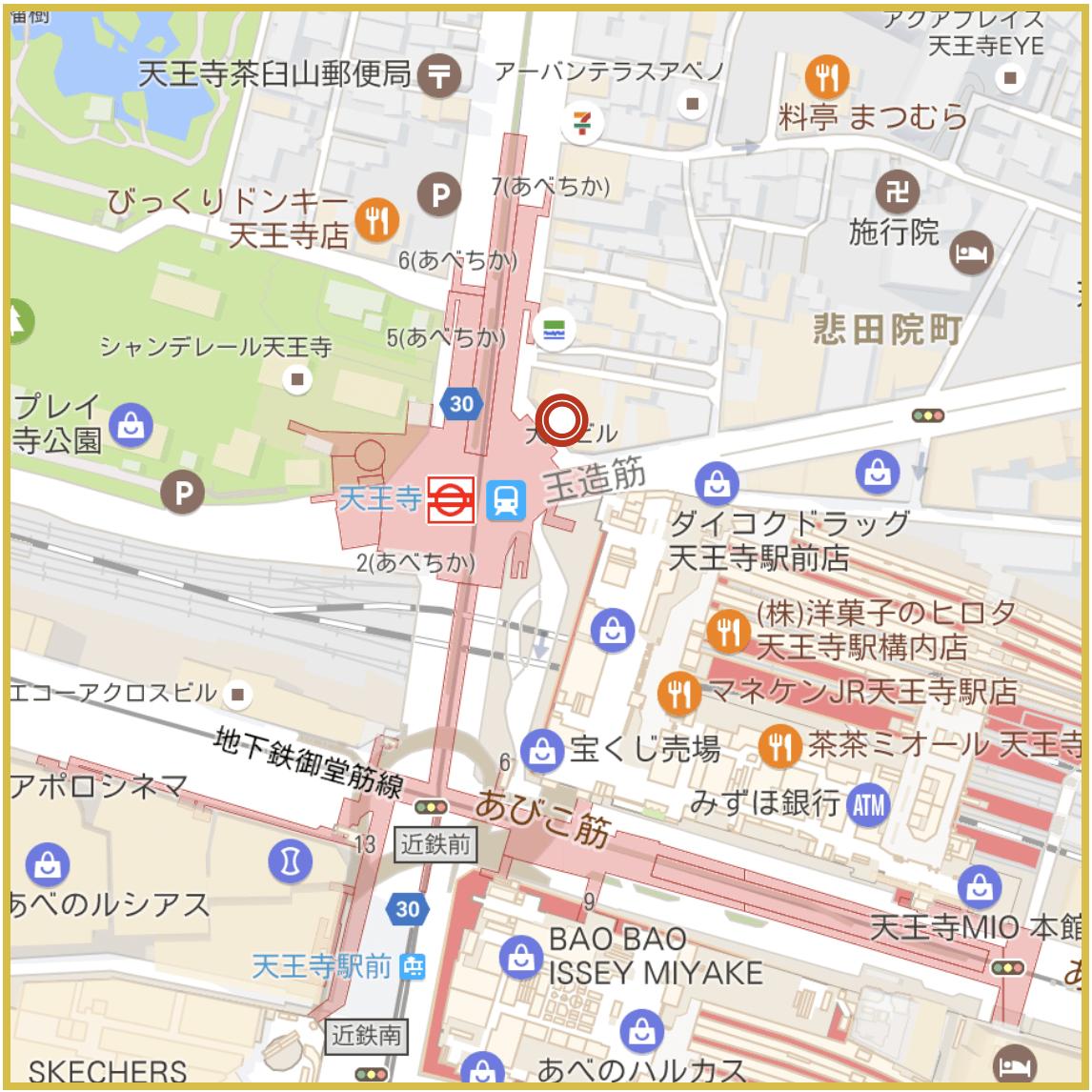 天王寺駅周辺にあるアイフル店舗・ATMの位置