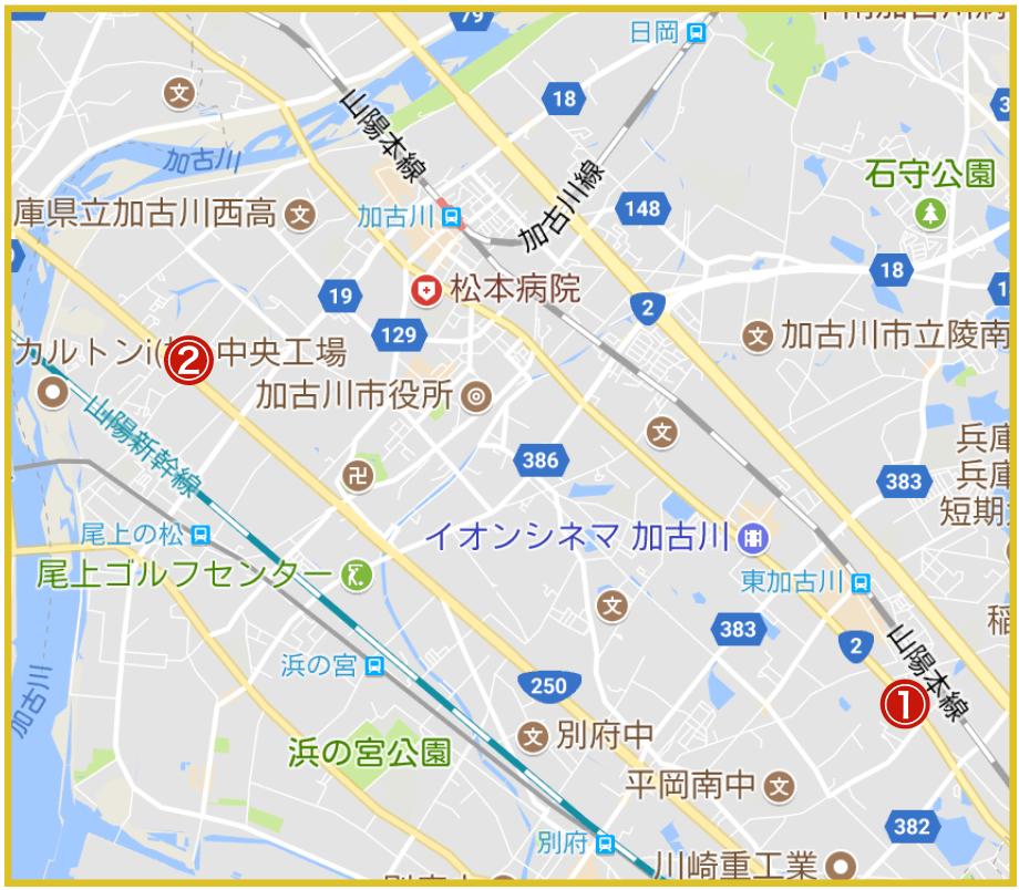 加古川市にあるアコム店舗・ATMの位置