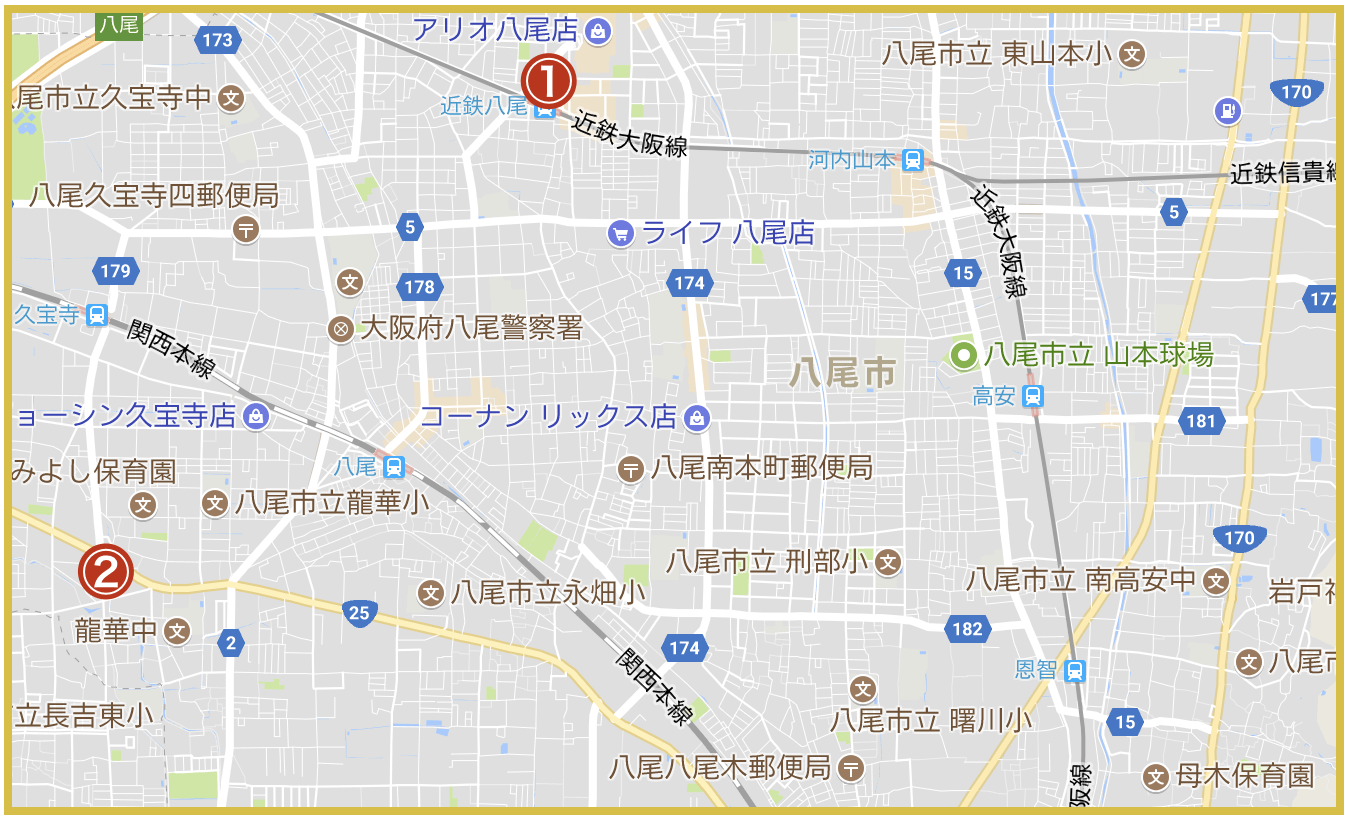 八尾市にあるアコム店舗・ATMの位置