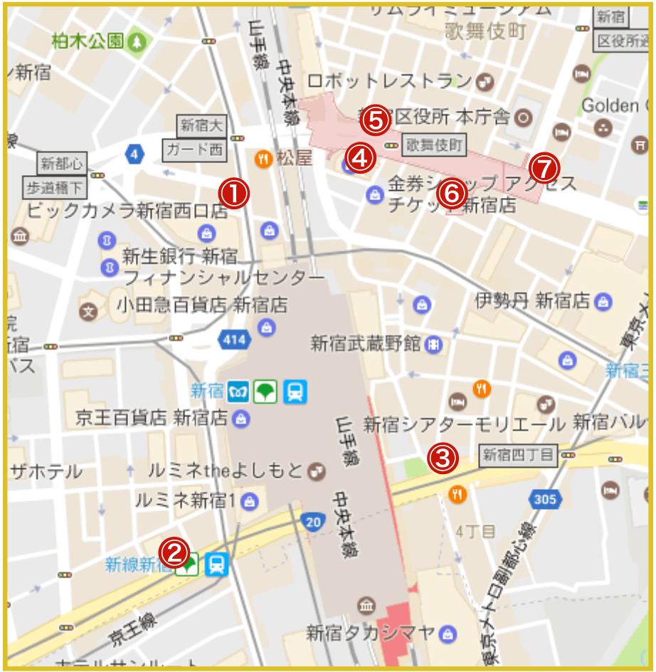 新宿駅周辺にあるプロミス店舗・ATMの位置