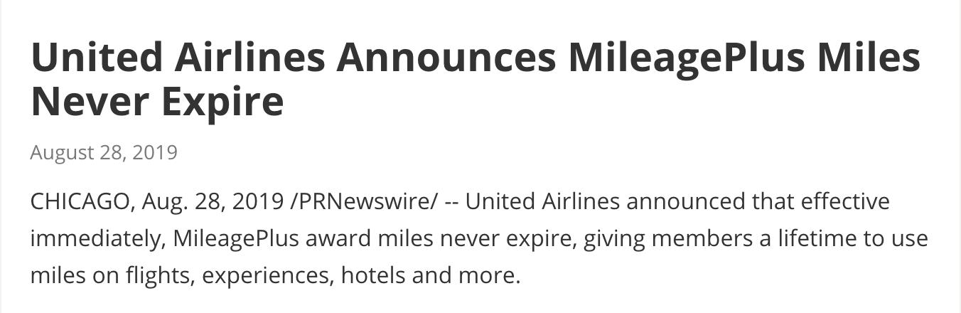 ユナイテッド航空のマイレージプラスの有効期限が無期限化