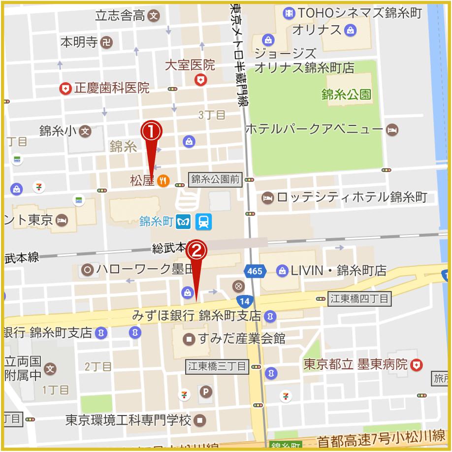 錦糸町駅周辺にあるアイフル店舗・ATMの位置