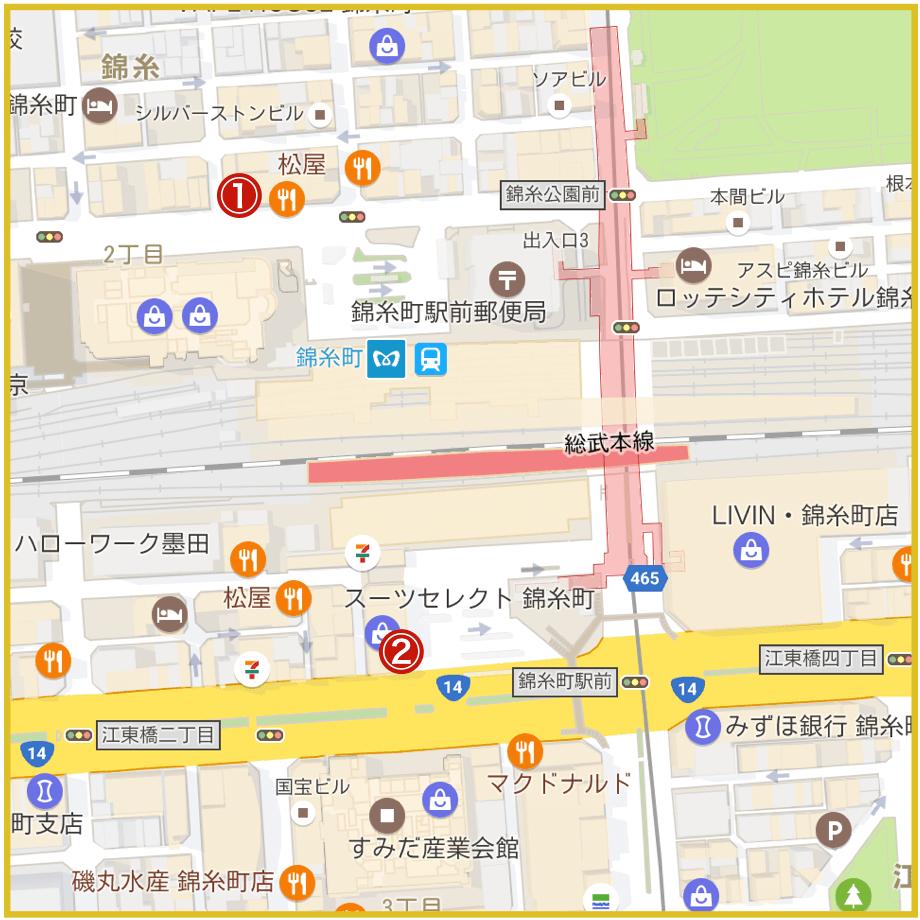 錦糸町駅周辺にあるプロミス店舗・ATMの位置