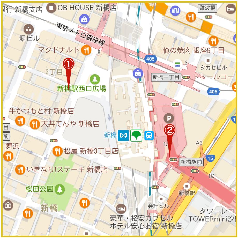 新橋駅周辺にあるアイフル店舗・ATMの位置