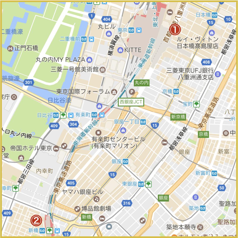 銀座駅から最寄りにあるアイフル店舗・ATMの位置