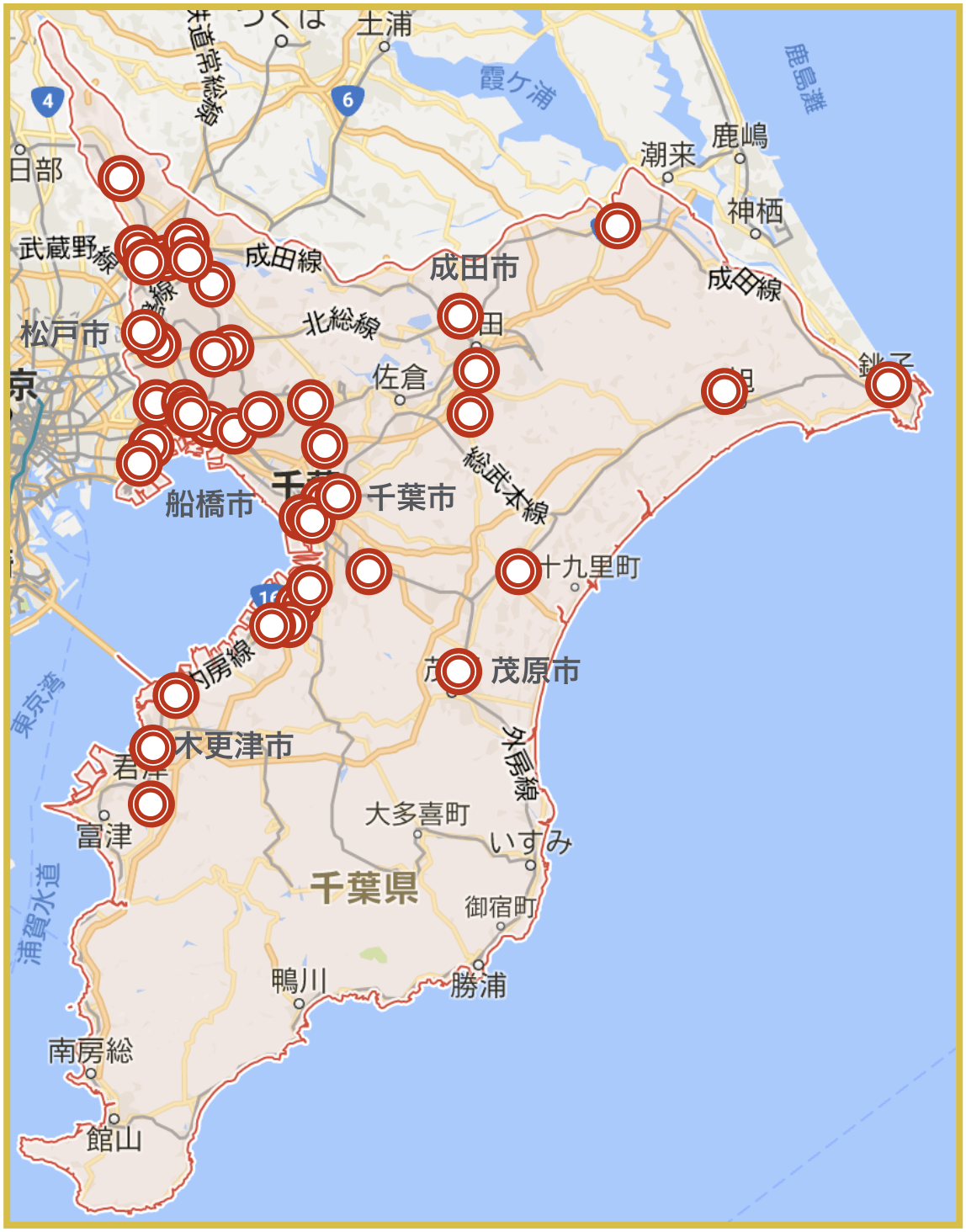 千葉県にあるアイフル店舗・ATMの位置