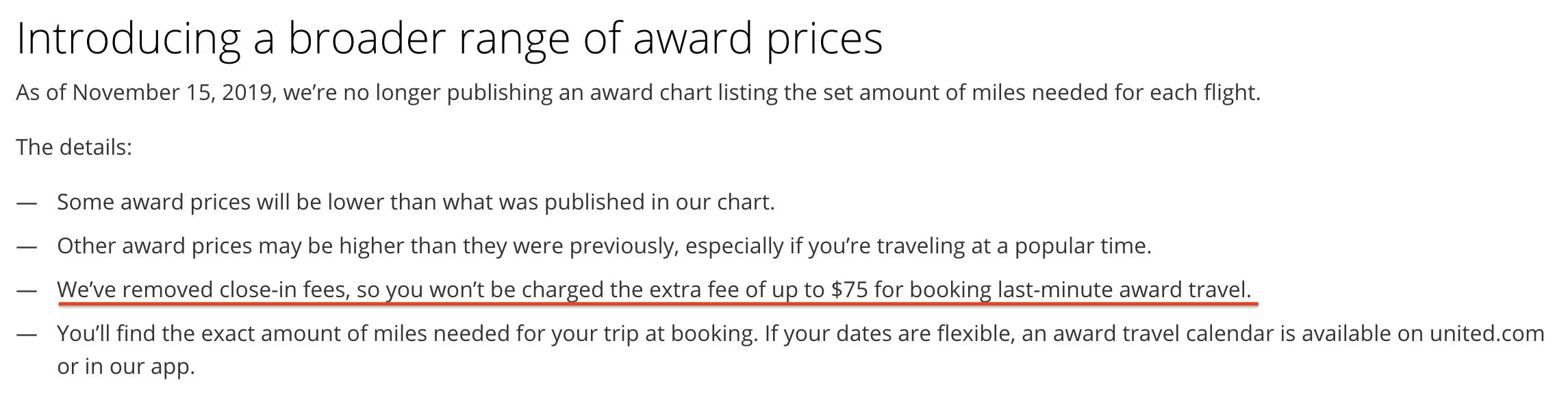 ユナイテッド航空のマイレージプラス特典交換条件の変更-直前発券手数料の廃止(2019年11月15日版)