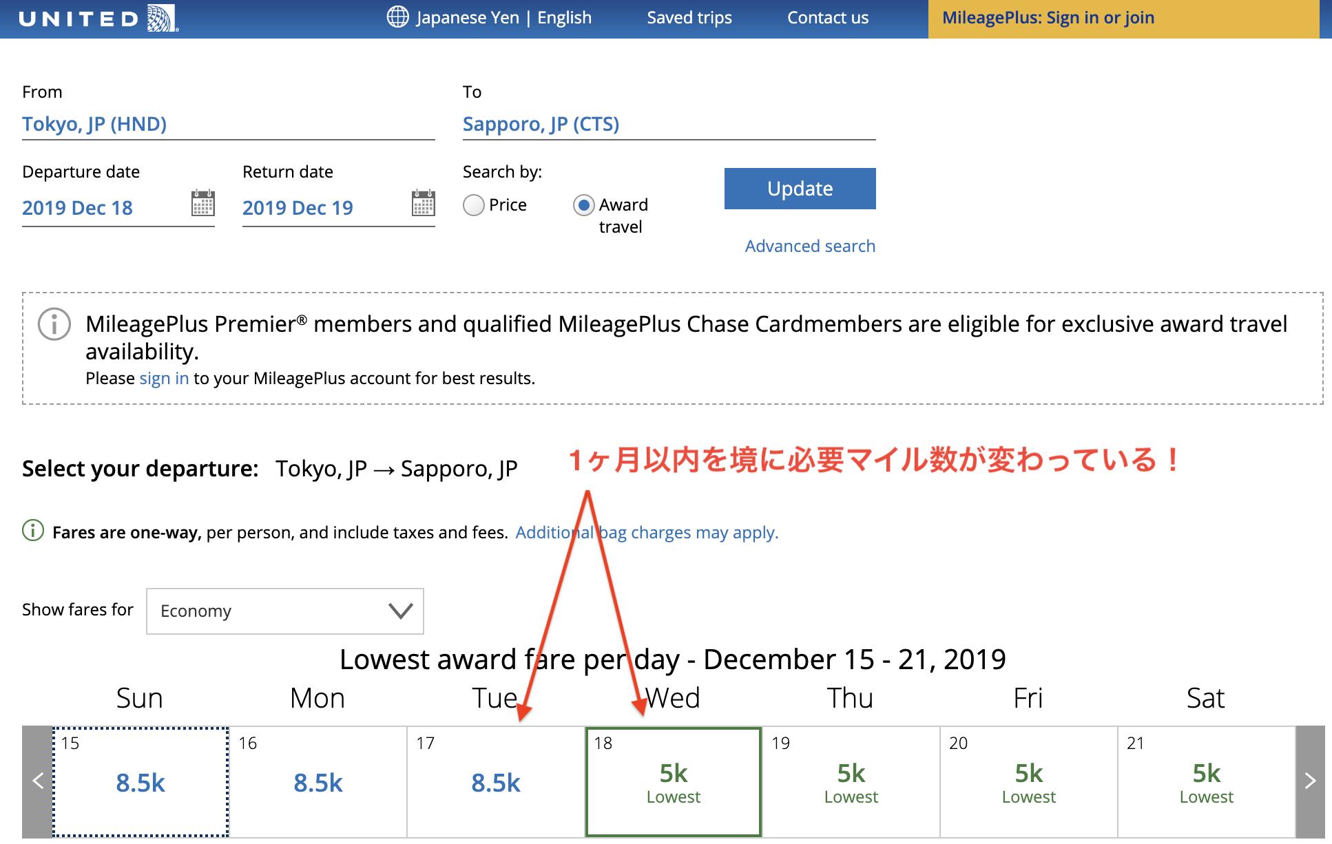 ユナイテッド航空のマイレージプラス特典航空券の必要マイル数(2019年11月15日以降)