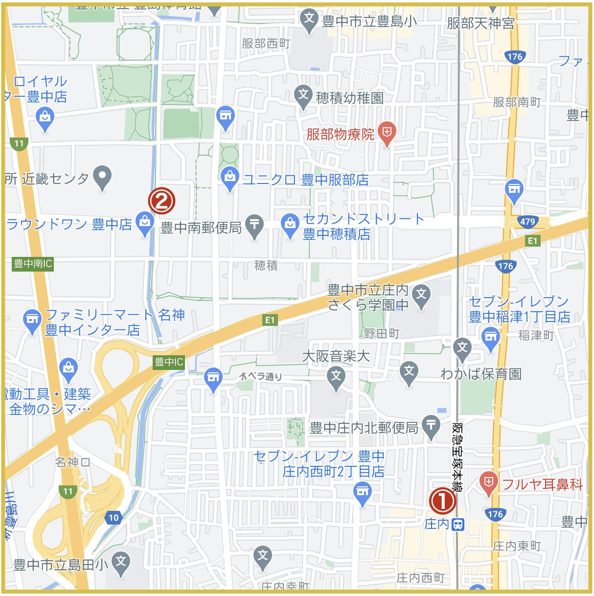 大阪府豊能地域にあるプロミス店舗・ATMの位置(2020年版)