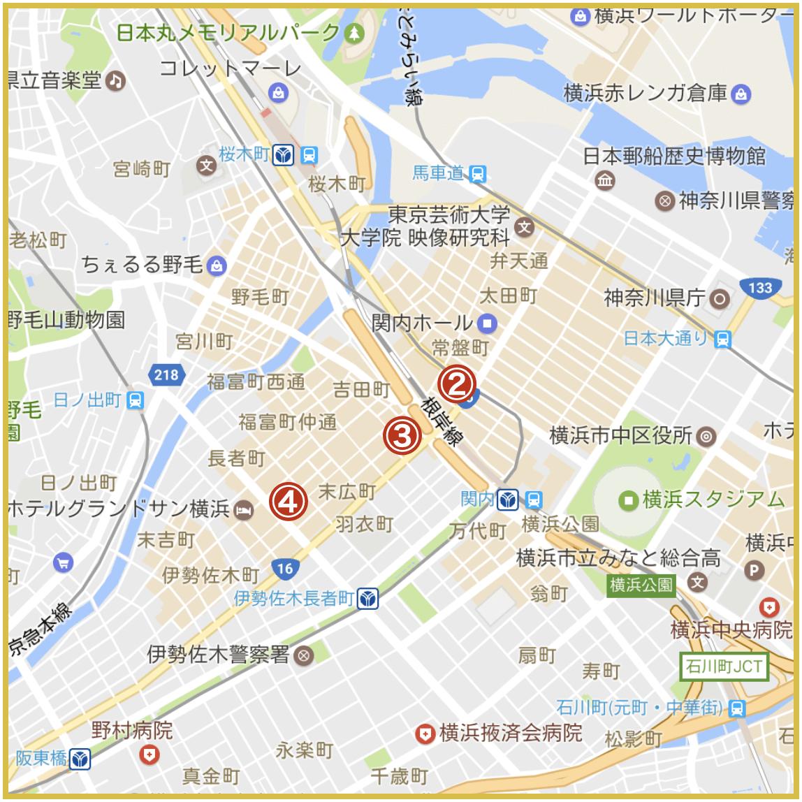 横浜市中区にあるアイフル店舗・ATMの位置(2020年版)