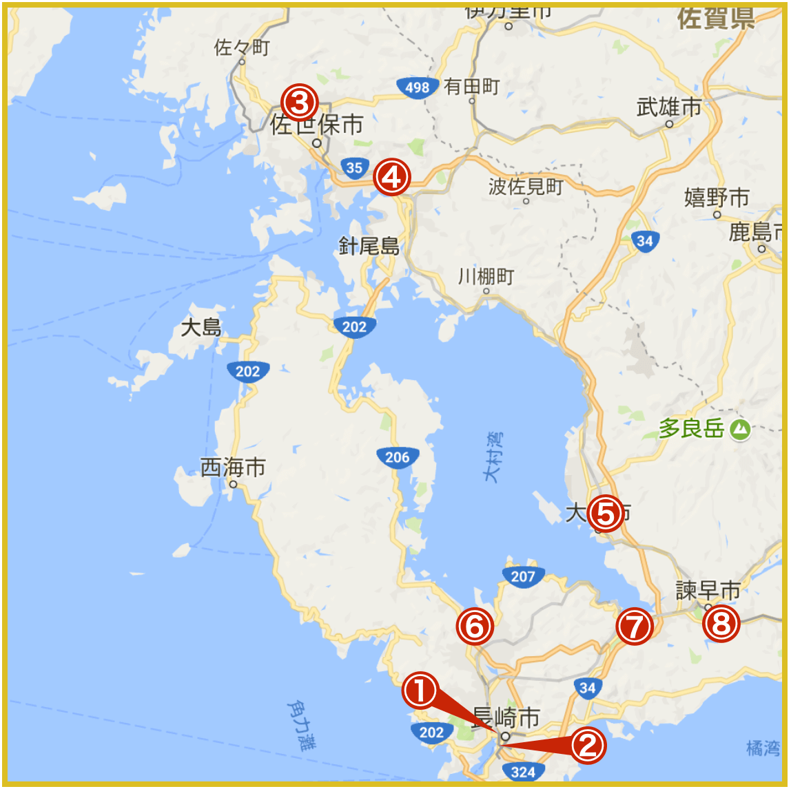 長崎県にあるプロミス店舗・ATMの位置(2020年版)
