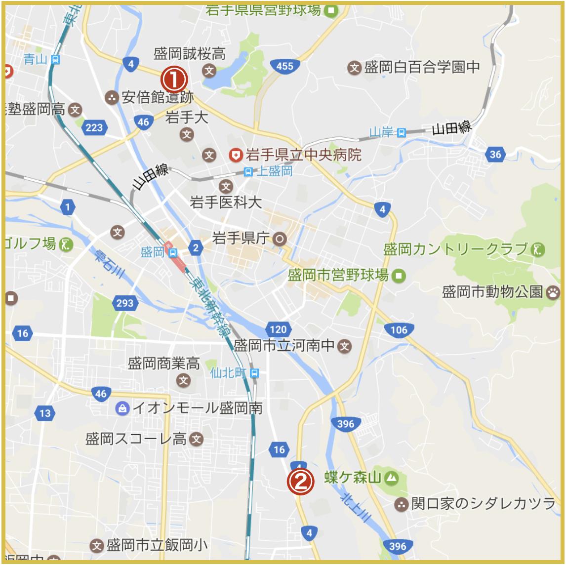盛岡市にあるアイフル店舗・ATMの位置(2020年版)