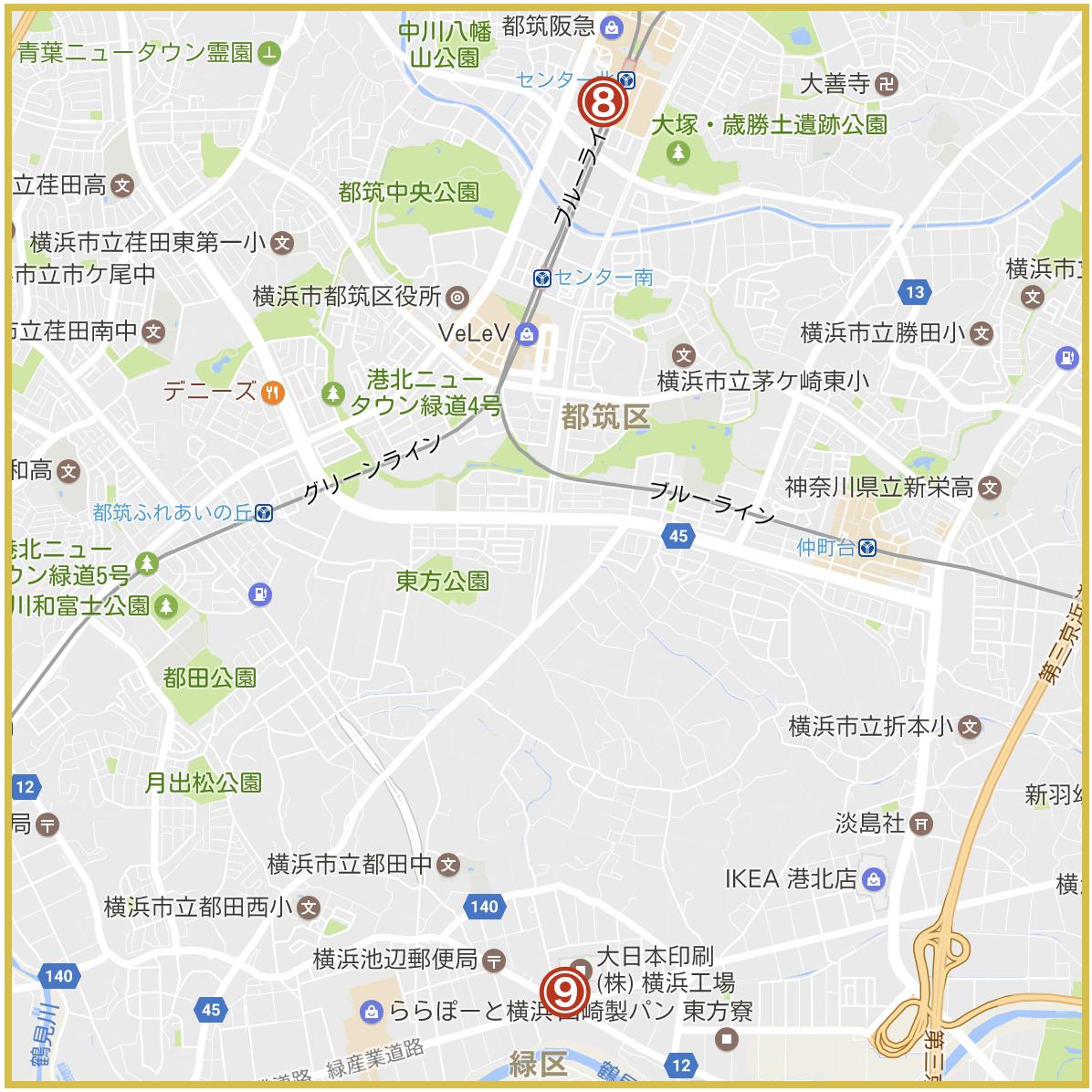 横浜市都筑区にあるアイフル店舗・ATMの位置(2020年版)