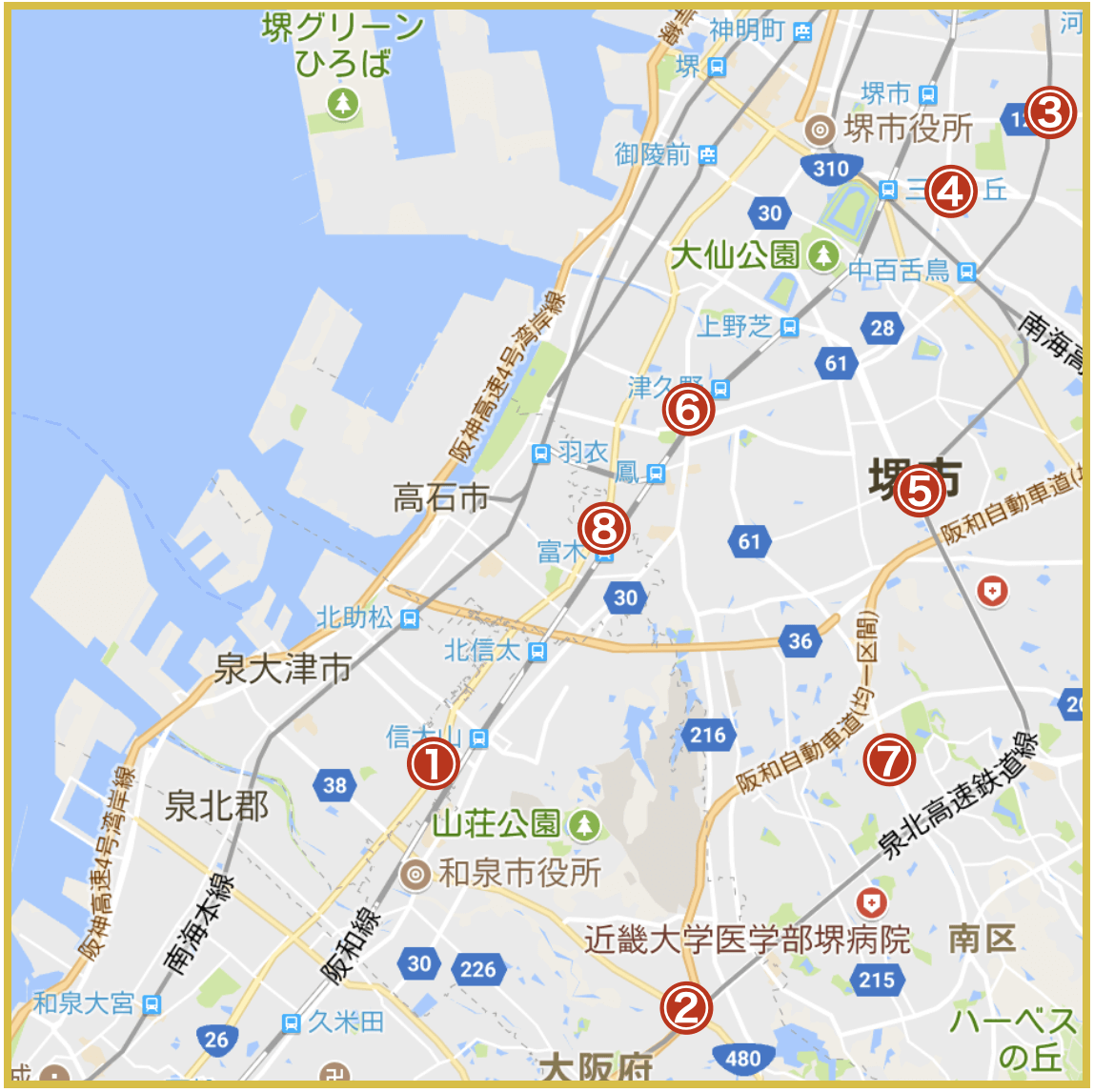 大阪府泉北地域にあるアイフル店舗・ATMの位置(2020年版)
