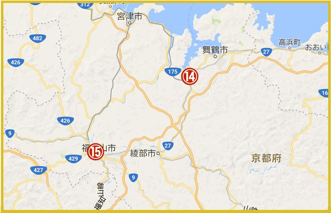 京都府北部にある舞鶴市や福知山市にあるプロミス店舗・ATMの位置(2020年版)