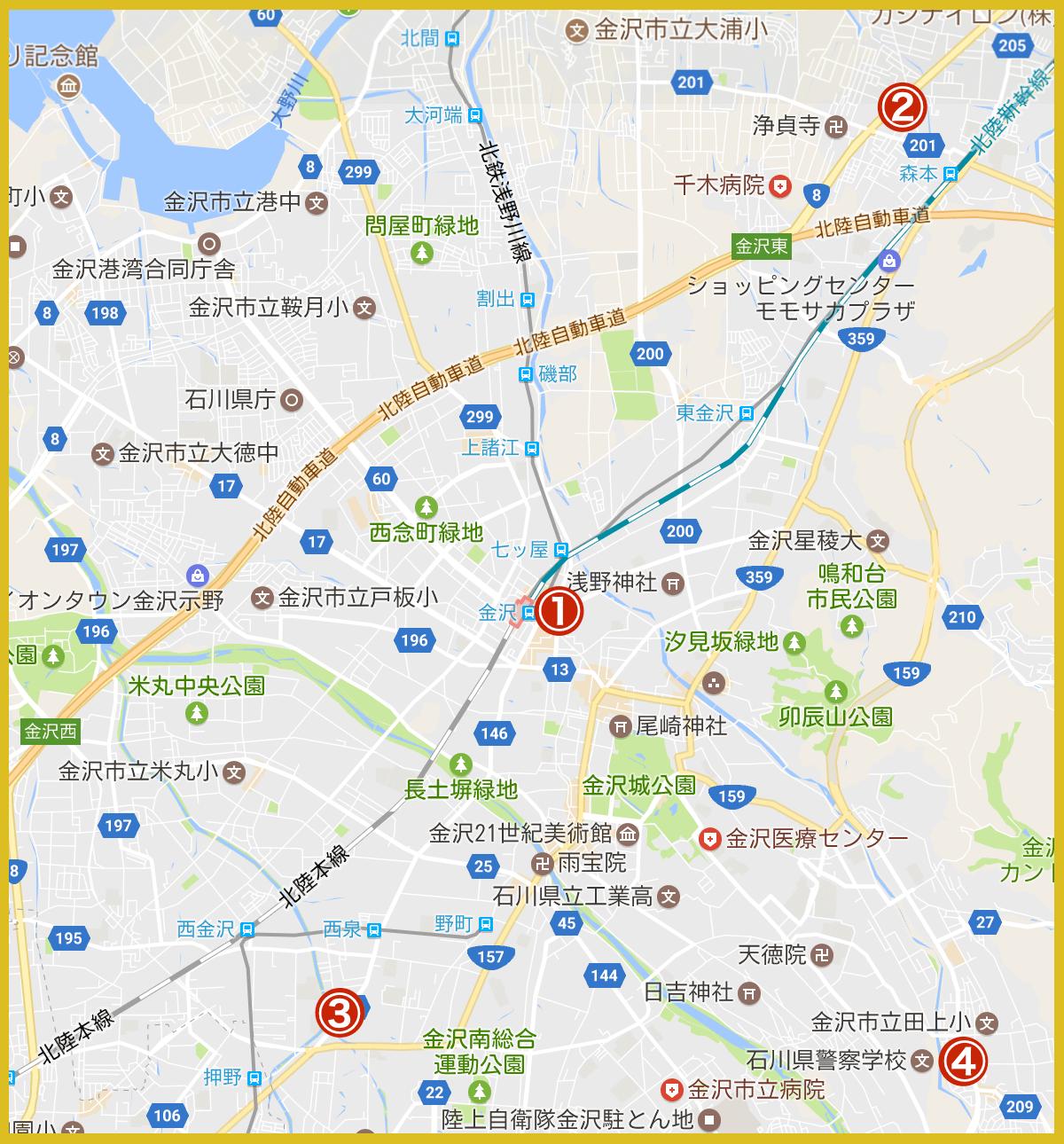 金沢市にあるプロミス店舗・ATMの位置(2020年版)