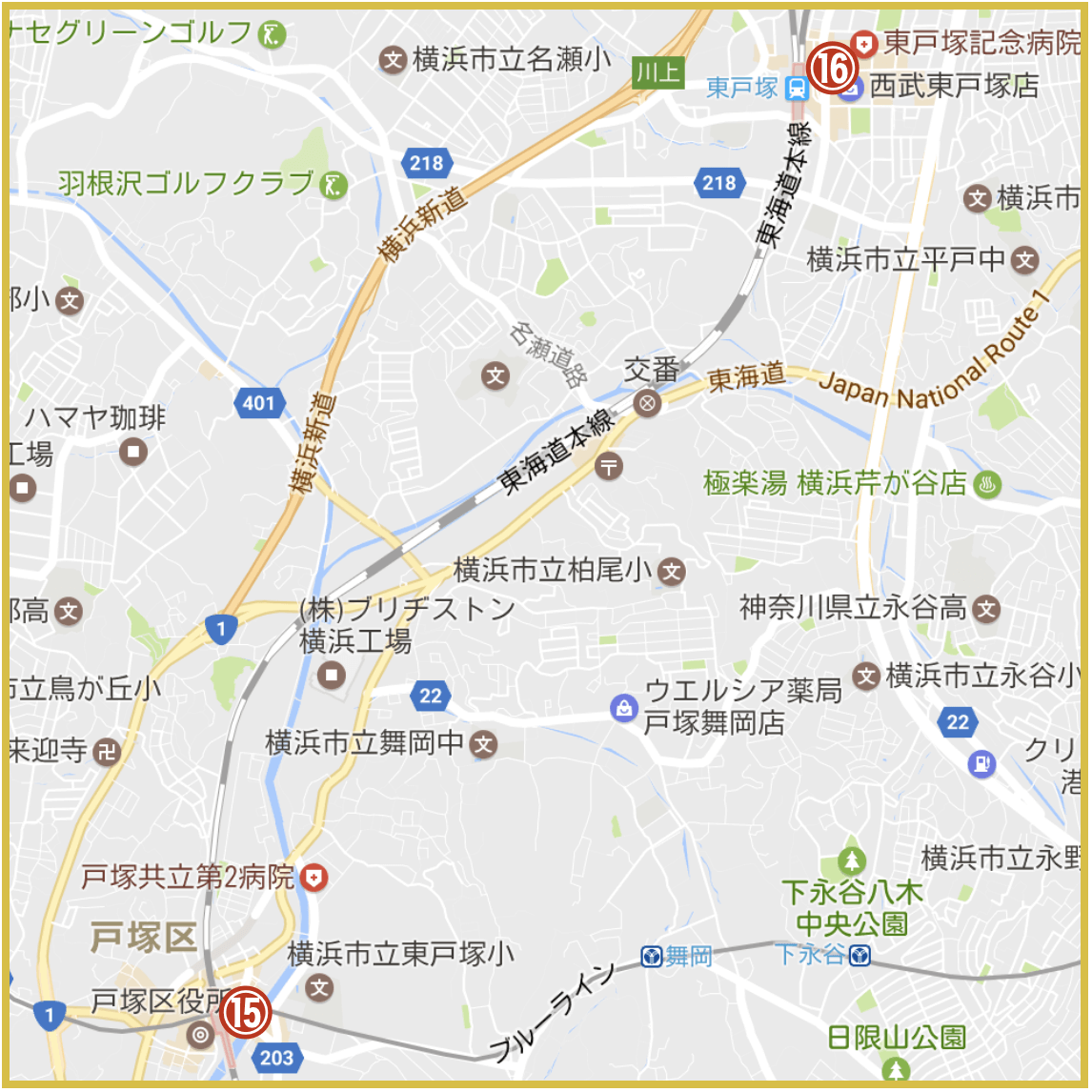 横浜市戸塚区にあるアコム店舗・ATMの位置 (2020年11月版)
