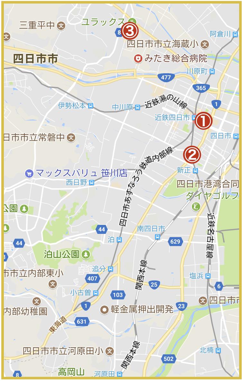 四日市市にあるアコム店舗・ATMの位置