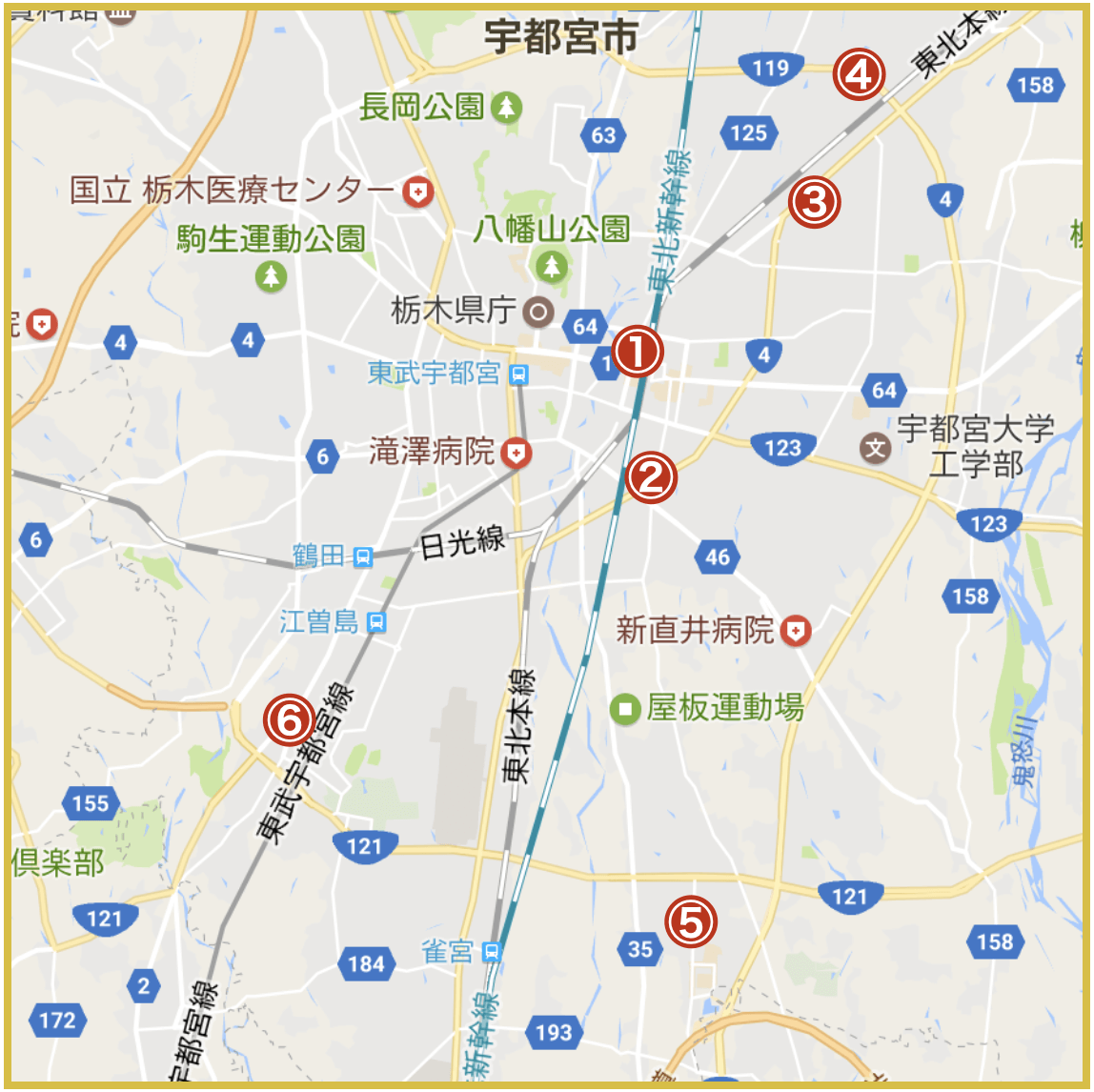 宇都宮市にあるプロミス店舗・ATMの位置(2020年版)