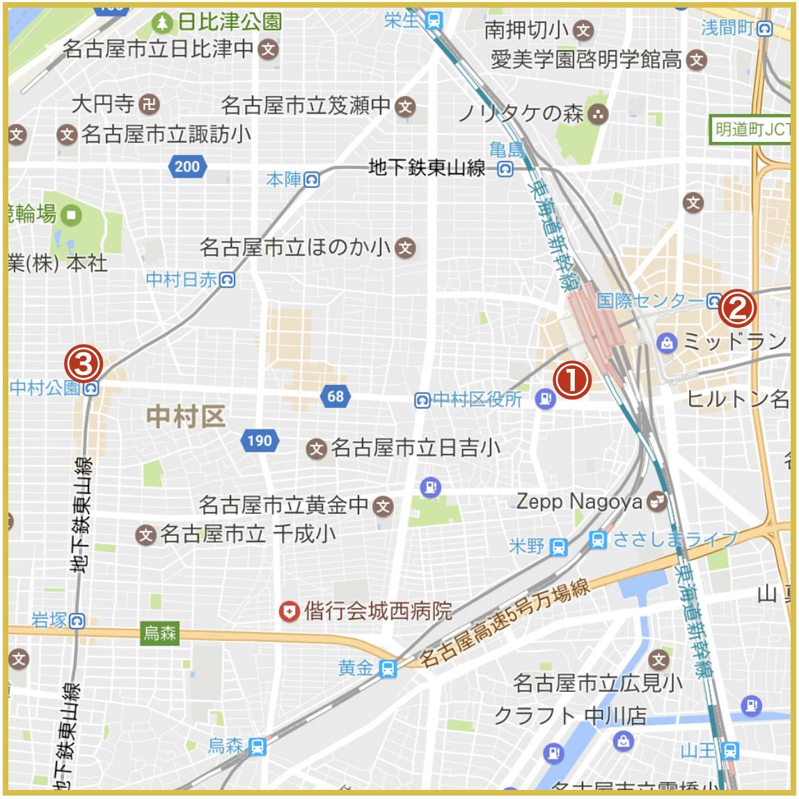 名古屋市中村区にあるプロミス店舗・ATMの位置(2020年版)