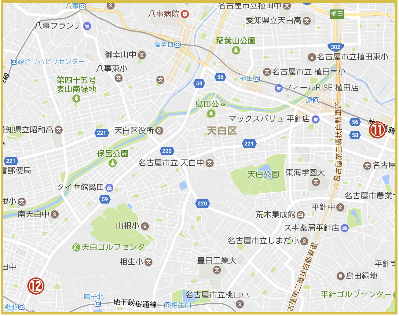 名古屋市天白区にあるプロミス店舗・ATMの位置(2020年版)