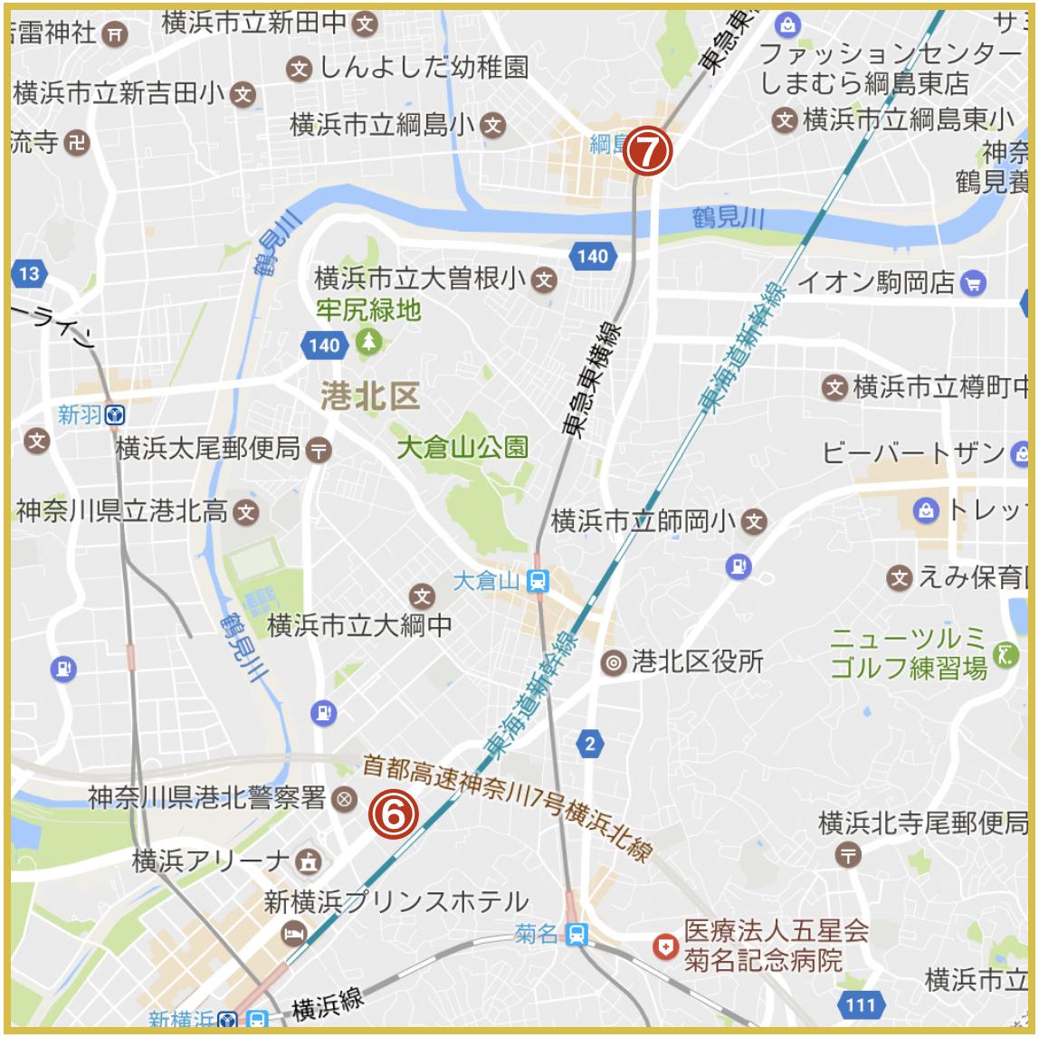 横浜市港北区にあるアコム店舗・ATMの位置(2020年4月版)