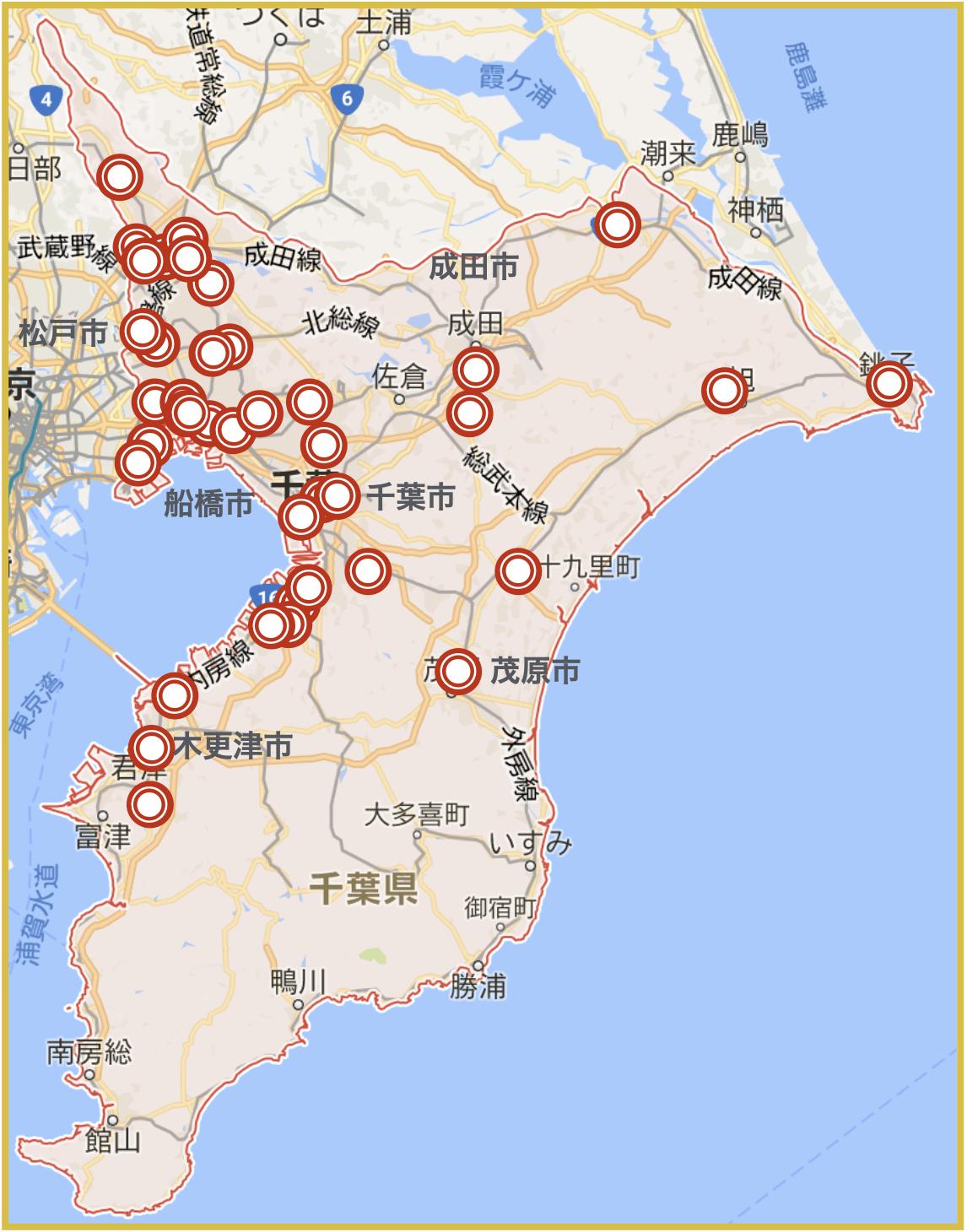 千葉県にあるアイフル店舗・ATMの位置(2020年版)