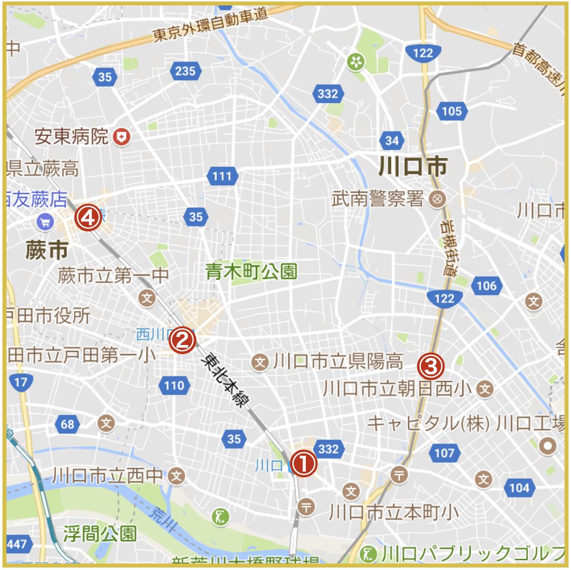 埼玉県南部地域にあるプロミス店舗・ATMの位置(2020年版)