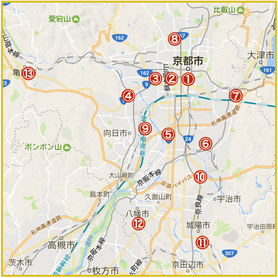 京都市周辺にあるプロミス店舗・ATMの位置(2020年版)