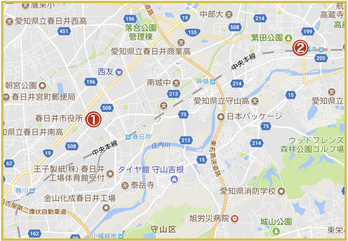 春日井市にあるアコム店舗・ATMの位置