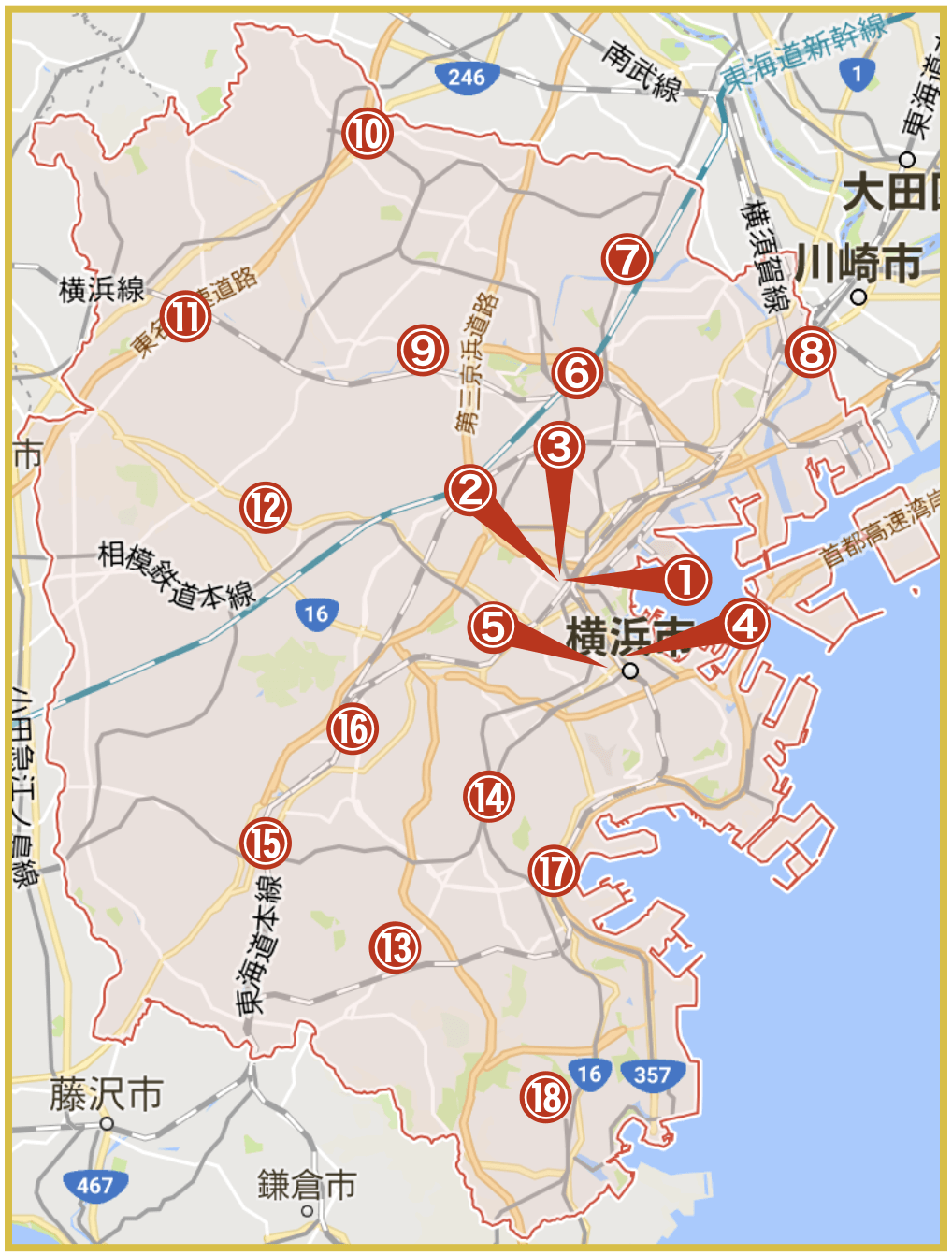 横浜市にあるアコム店舗・ATMの位置(2020年11月版)