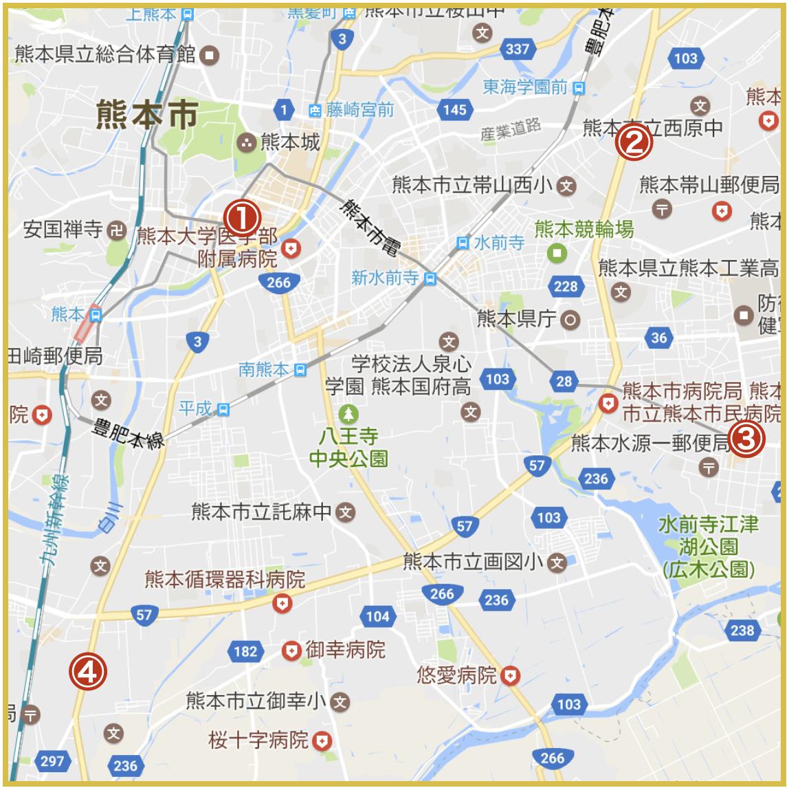 熊本県熊本市にあるアイフル店舗・ATMの位置