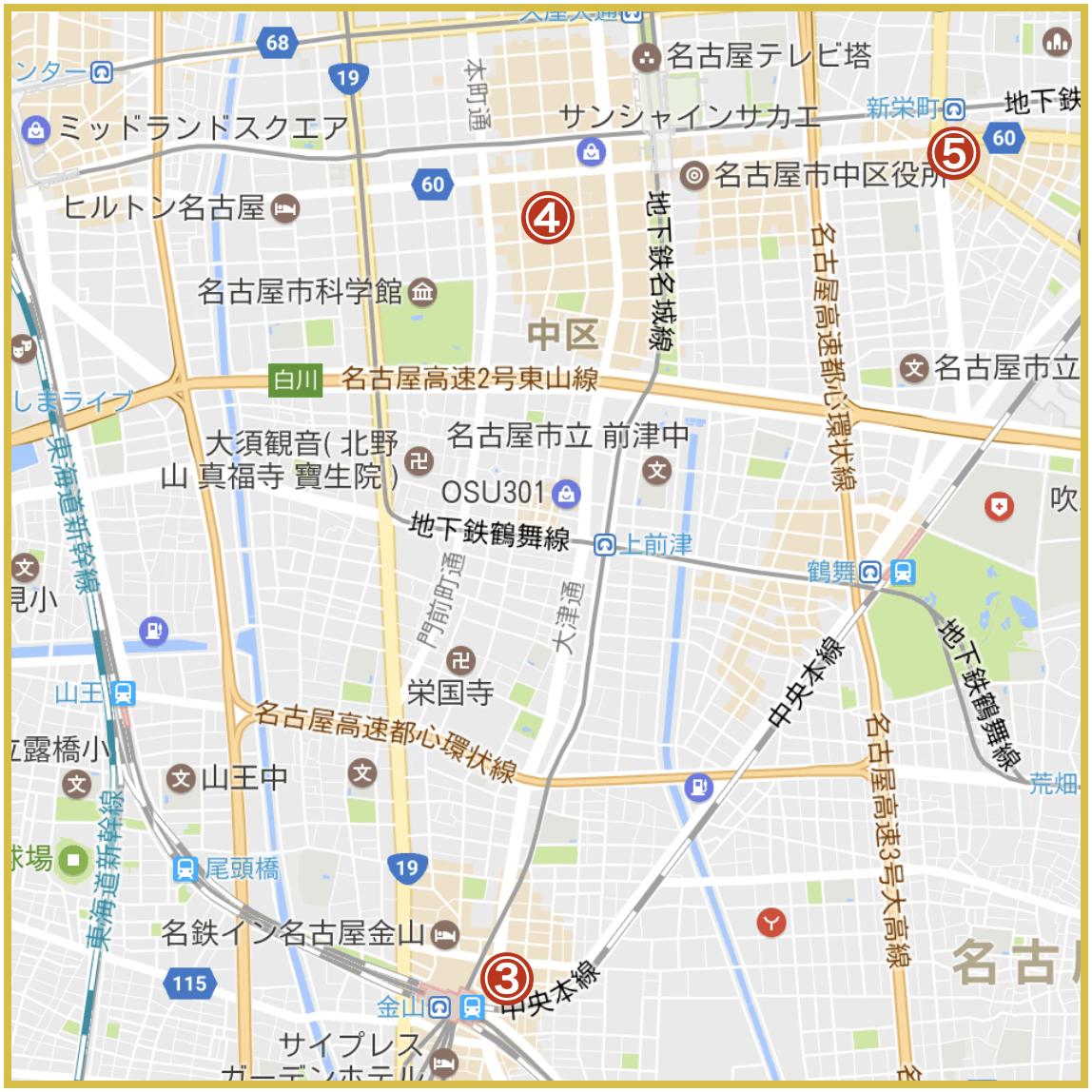 名古屋市中区にあるアイフル店舗・ATMの位置(2020年版)