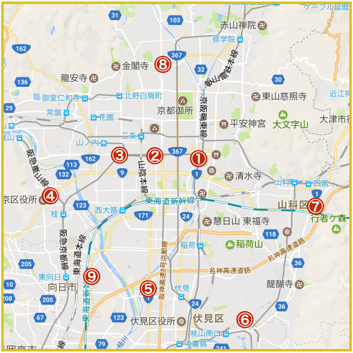 京都府京都市にあるプロミス店舗・ATMの位置(2020年版)