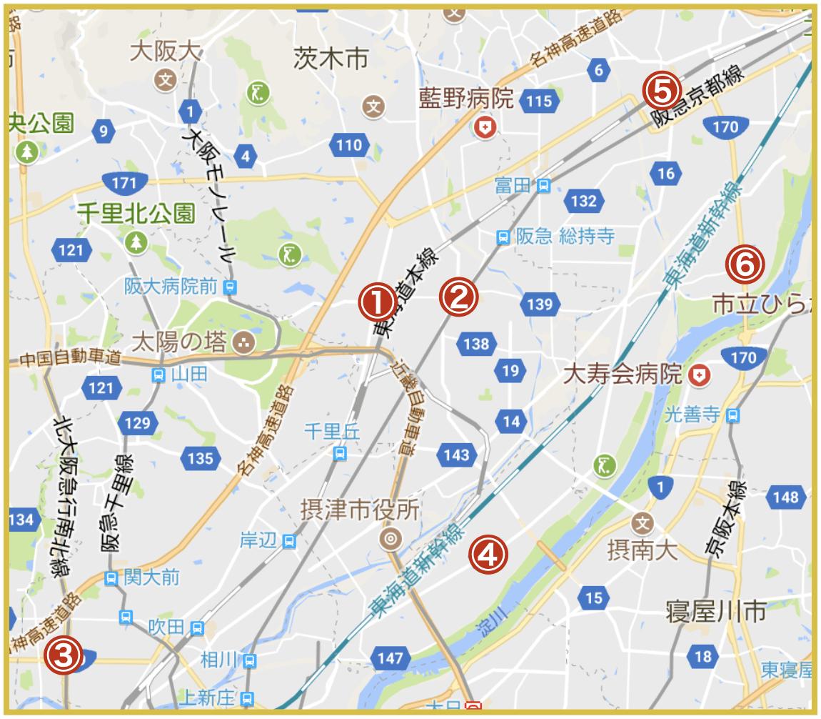 大阪府三島地域にあるプロミス店舗・ATMの位置