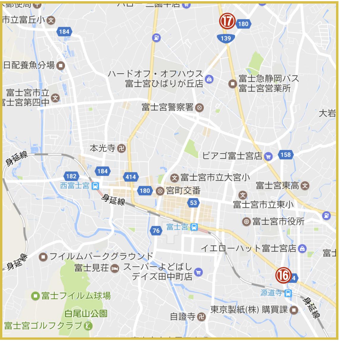 静岡県富士宮市にあるアコム店舗・ATMの位置(2020年9月版)