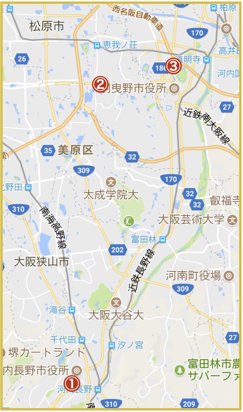 大阪府南河内地域にあるプロミス店舗・ATMの位置(2020年版)