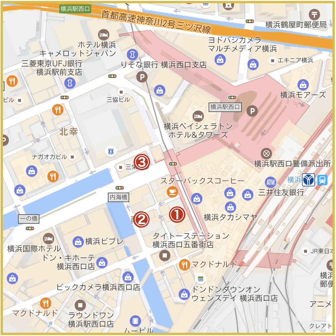 横浜市西区にあるアコム店舗・ATMの位置