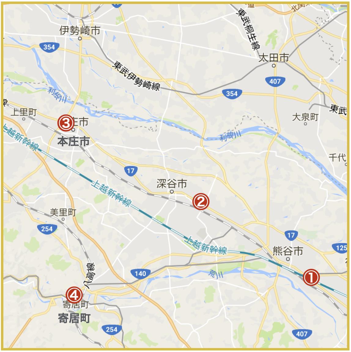 埼玉県北部地域にあるプロミス店舗・ATMの位置
