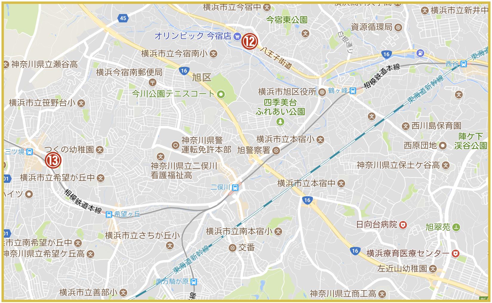 横浜市旭区にあるアコム店舗・ATMの位置(2020年8月版)