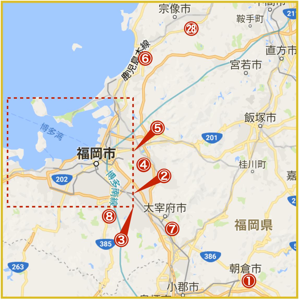 福岡県福岡地域にあるプロミス店舗・ATMの位置(2020年版)