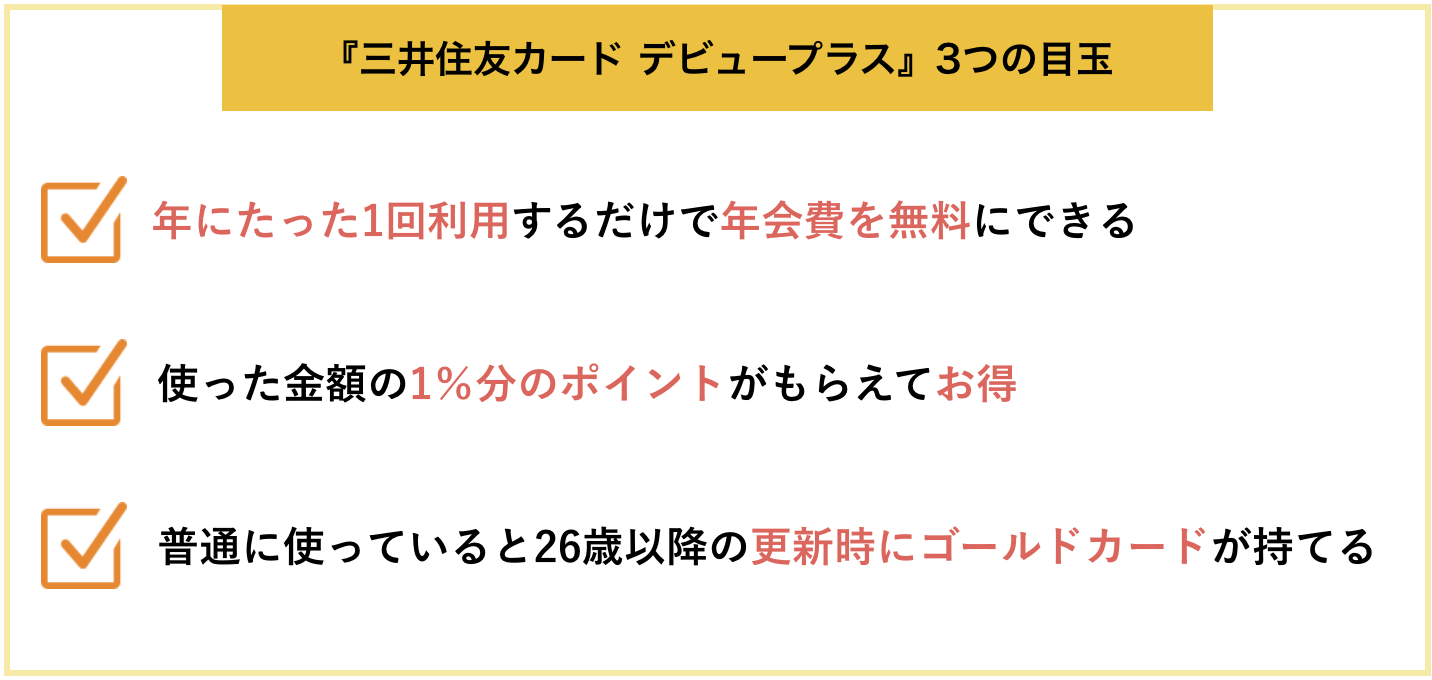 三井住友カード デビュープラスの3つの目玉