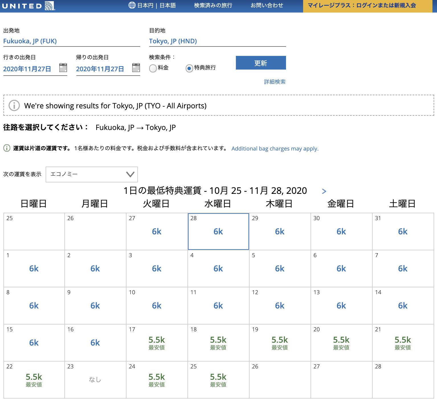 ユナイテッド航空のマイレージプラス特典航空券の必要マイル数(2020年10月時点)