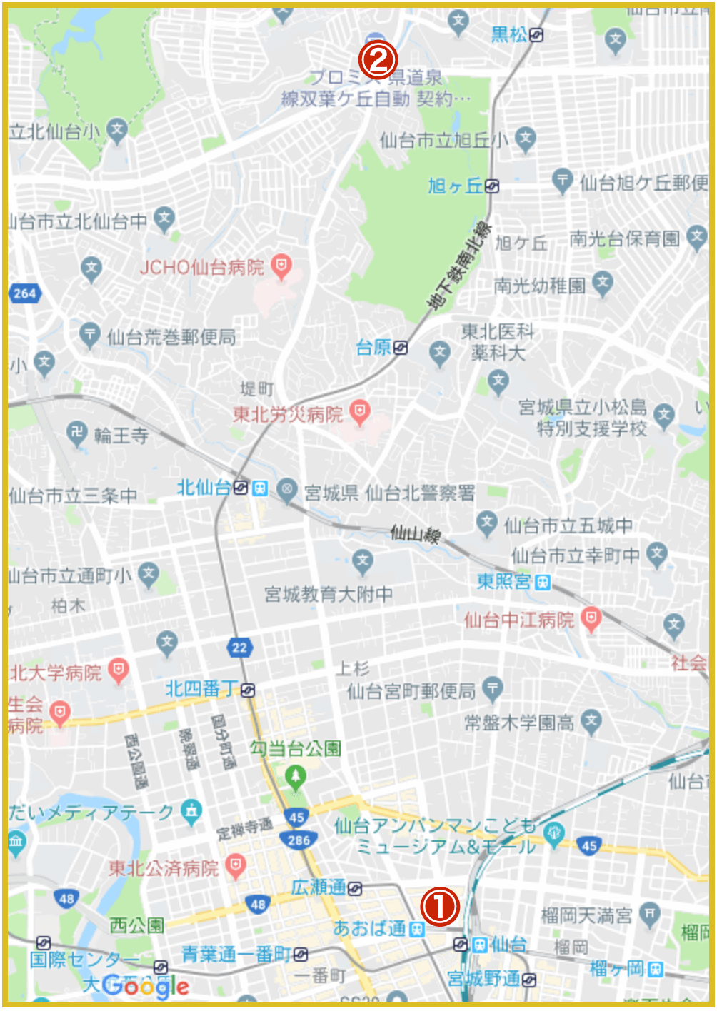 仙台市青葉区にあるアコム店舗・ATMの位置(2021年版)