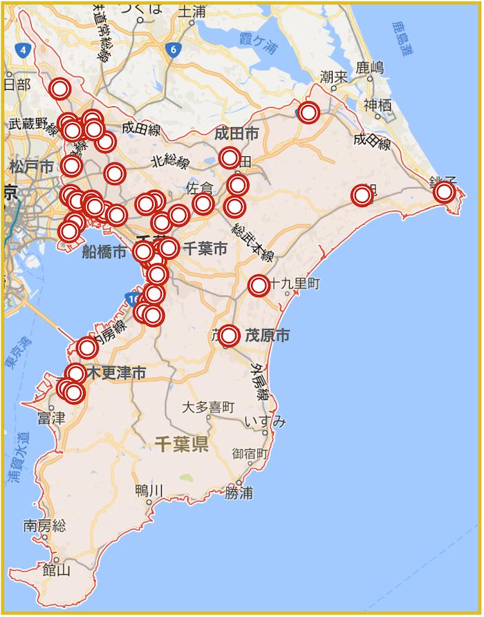 千葉県にあるアコム店舗・ATMの位置(2021年6月版)